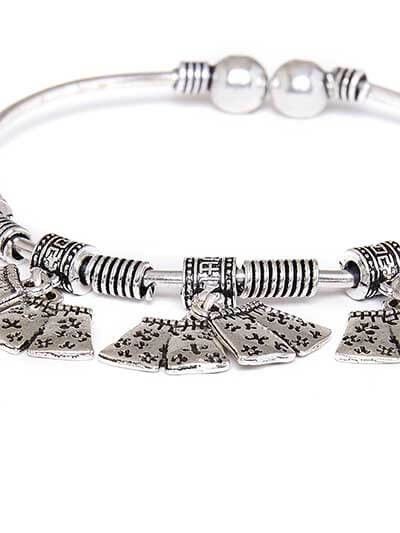 Adjustable Oxidized Silver Bracelet with Quirky Floral Charms