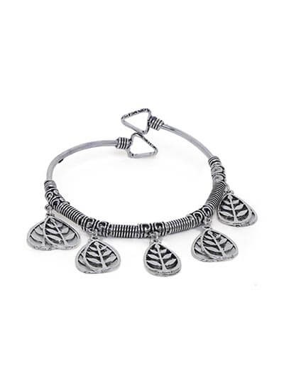 Adjustable Oxidized Silver Bracelet with Leaf Charms