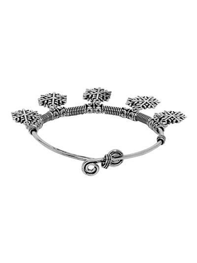 Adjustable Oxidized Silver Bracelet with Snow Flakes Charms