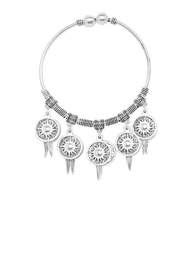 Adjustable Oxidized Silver Bracelet with Floral Circular Charms