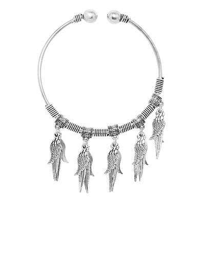Adjustable Oxidized Silver Bracelet with Shell and Leaves Charms