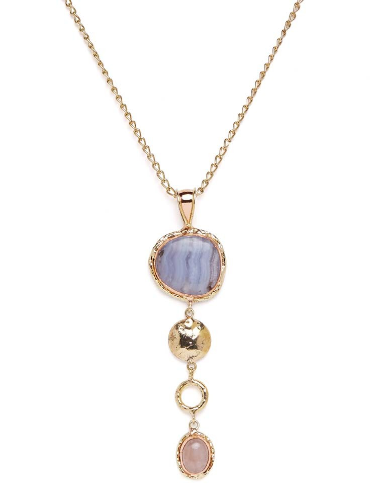 Fierce in Blue Lace Agate and Rose Quartz Necklace Pendant