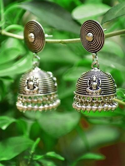 Oxidized Silver Deity Jhumka Earrings For Women