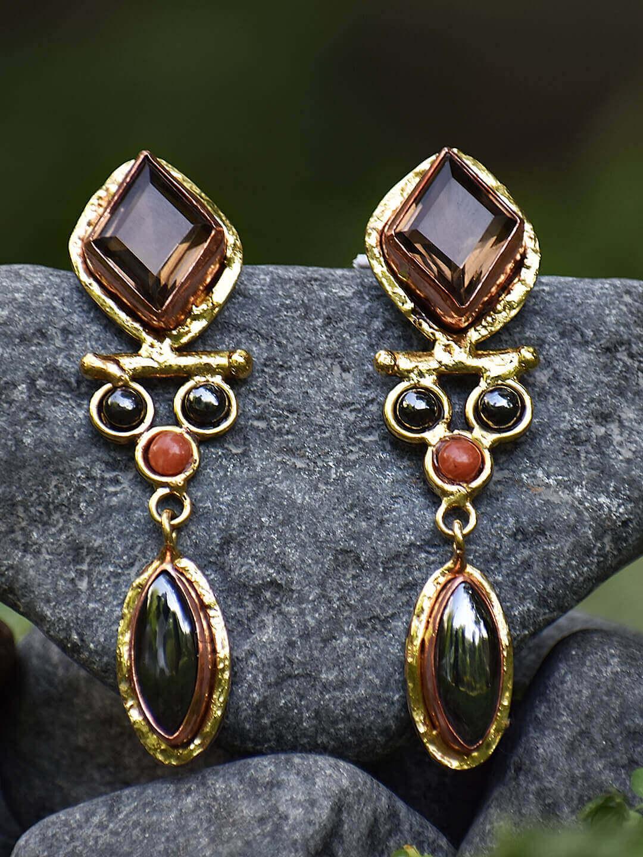 Festive Season Jewelry-Gemstone encrusted Brass earrings