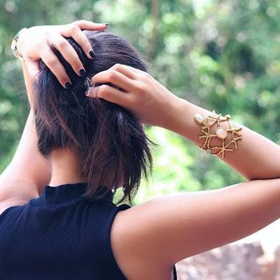 Elegant Rose Quartz Aqua Chalcedony Spiral Brass Bracelet