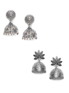 Jewellery Combo Deals-2 Pairs of Oxidized Silver Jhumkas