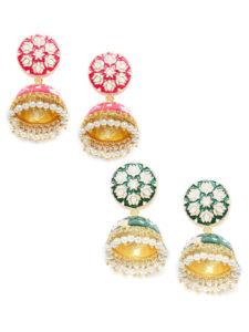 Jewellery Combo Deals-2 Pairs of Meenakari Jhumkas