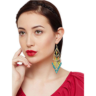 Peacock Hues Falling tassel Nirvana Handmade Earrings
