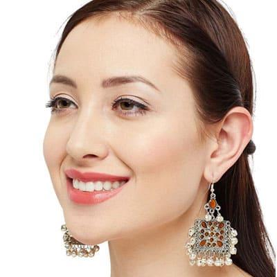 Square shaped Chandbali Earrings