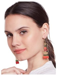 Pressa Red Beads Designer Western Earrings
