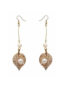 Royal Pearl Banyan Leaf Earrings