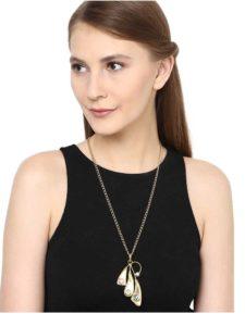 Stylish Brass Trio Pendant Fashion Necklace