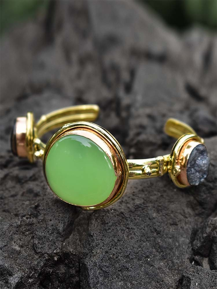 Dainty Lime and Black Druzy Semi Precious Handmade Jewellery Cuff Bracelet
