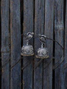 Birdie Silver Traditional Tribal Jewellery Jhumka Earrings