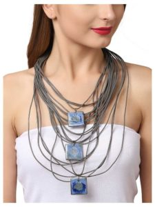 Blue Entangled Stone Layer Statement Necklace