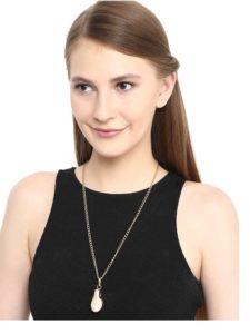 Brass and Pearl Pendant Chain Fashion Necklace