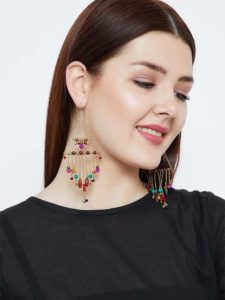 Colorful Beads and Everything Pretty Golden Metallic Bells Western Earrings