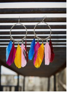 Colorful Pigeon Feathers Western Earrings With Beaded Bali