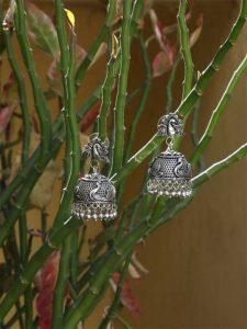 Glory Indie Designer Silver Tribal Jewellery Jhumka Earrings