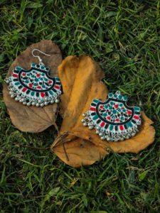 Ishi MultiColor Traditional Silver Chandbali Earrings