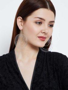 Multi Circular Swirled Silver Plated Designer Western Earrings