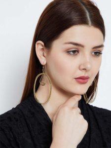 Multi Oval Swirls Gold Plated Designer Western Earrings