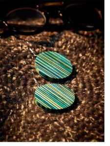 Multicolored Stripped Circular Wooden Handmade Jewellery Earrings
