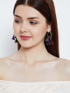 Multicolored Tassel Western Earrings With Geometrical Bali