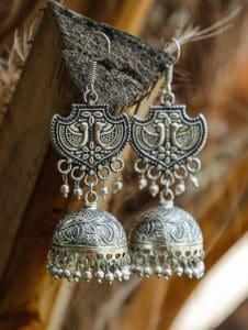 Rajasthani Gypsy Caravan Silver Jhumki Earrings