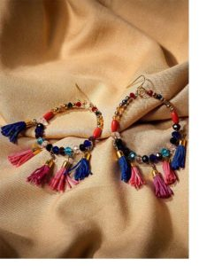 Vibrant Tassels With Colorful Beaded Bali Western Earrings