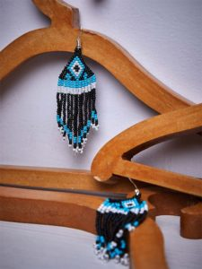 Adorable Turquoise and White Triangular Pattern Delicate Black Seed Beads Handmade Jewellery Earrings