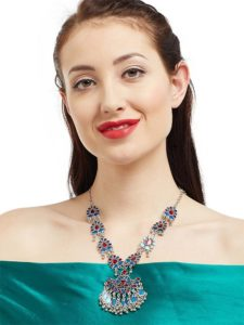 Blues Hues Silver Traditional Handmade Jewellery Necklace