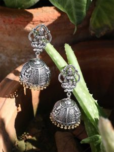 Deity Temple Silver Traditional Tribal Jewellery Jhumka Earrings