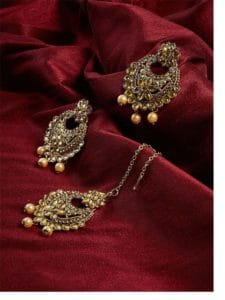 Golden Kundan Embellished With Hanging Rose Gold Pearls