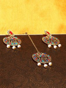 Graceful Multicolored Stone Studded with Hanging Ethnic White Pearls Golden Earrings