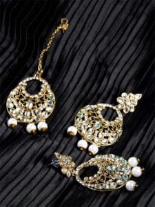Kundan Embellished with Hanging White Pearls Golden Earrings