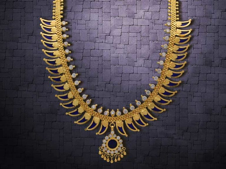 Pulinakham Mala is an extraordinary jewellery designed for Kerala bridal look.
