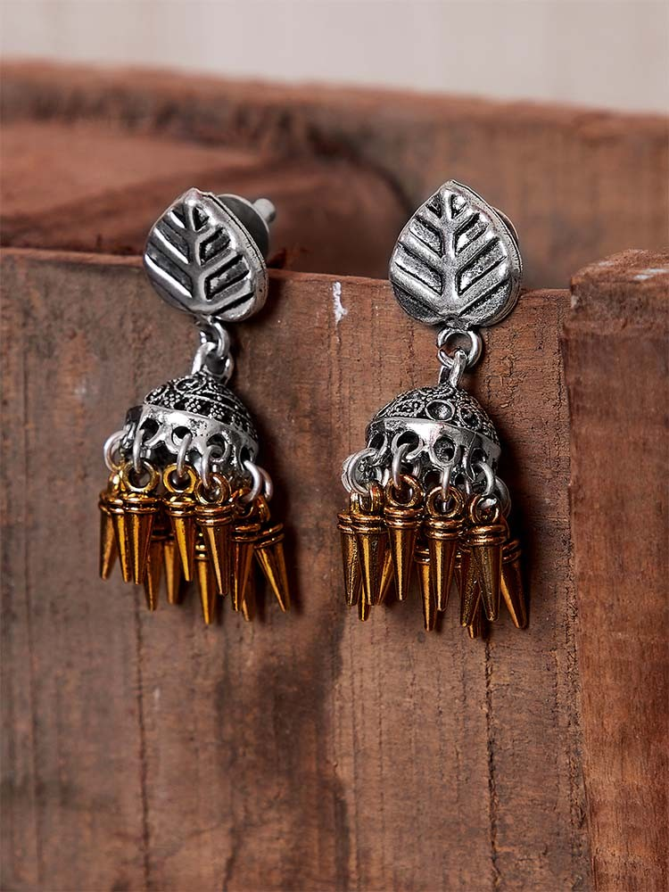 oxidized silver jhumkis with golden hangings