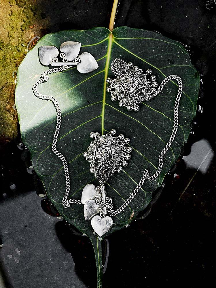 Kashmiri oxidized silver jhumkis