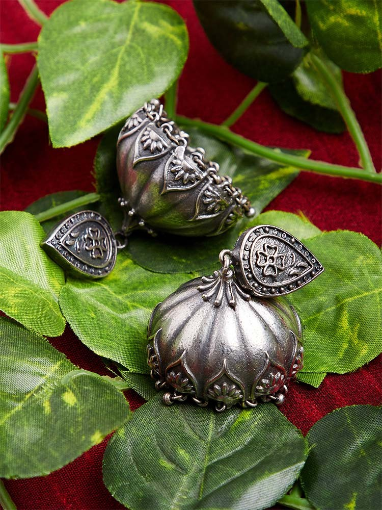 Silver plated tribal jhumkis