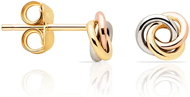 Tri-Colour Gold Earrings design for daily use