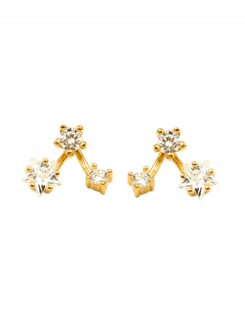 Star-Shaped Jacket gold earrings design for daily use