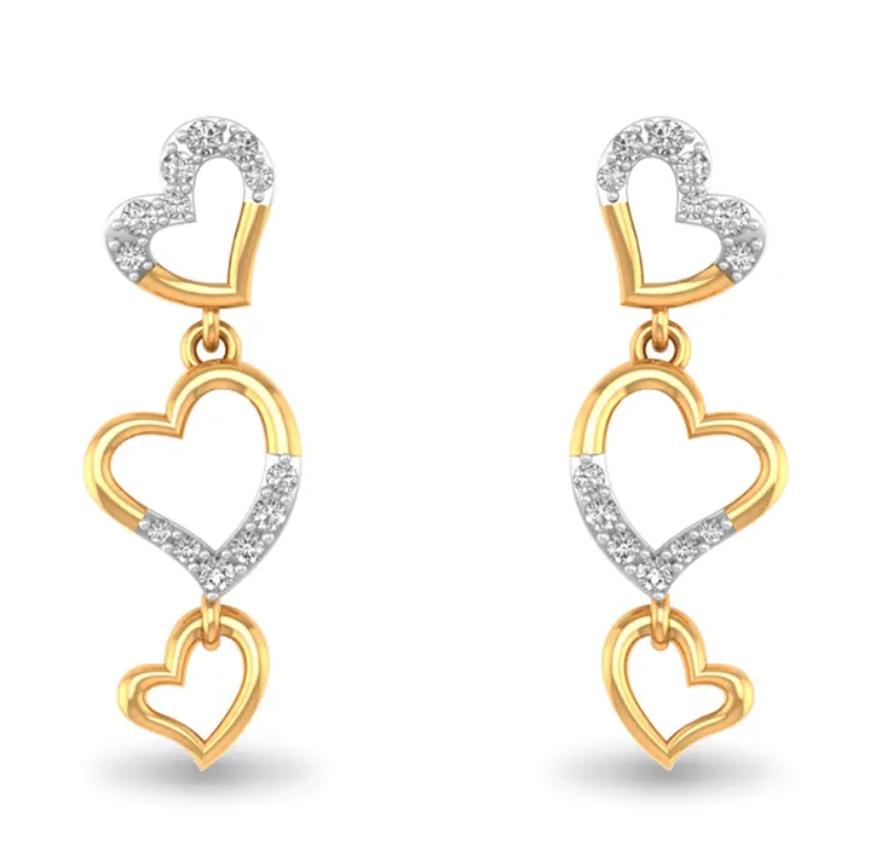 gold heart danglers