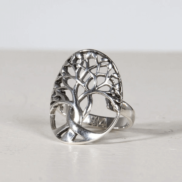 Oxidized Silver Vintage Tree Ring