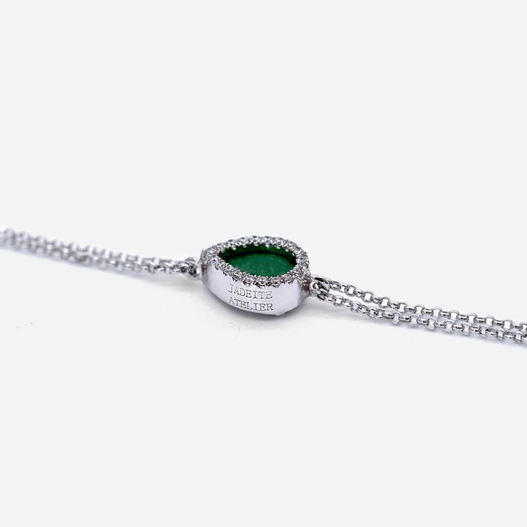 The Sleek Silver & Green Jade Bracelet