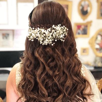 hairstyle on lehenga