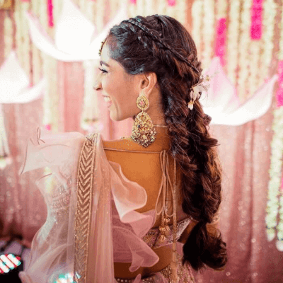 french hairstyle for lehenga