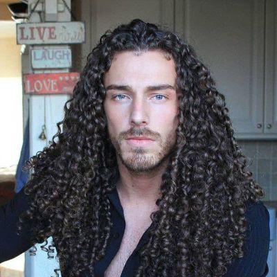 long curl men hairstyle